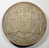 ROMANIA 250 Lei 1935 . Rara in aceasta stare ! Patina superba , luciu de batere, Argint
