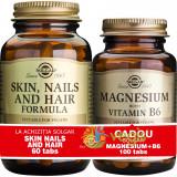 Pachet 1+1 Gratis: Skin Nails And Hair Formula 60tb (Formula pentru piele, unghii si par) + Magnesium (Magneziu) cu B6 100 tablete Gratis