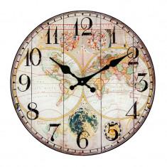Ceas decorativ de perete, 30 cm, model harta lumii, multicolor