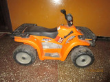 ATV Polaris Sportsman 400, Peg Perego pentru copii cu baterie 12v, 6-8 ani, Baiat, Portocaliu, Peg Perego