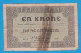 (1) BANCNOTA NORVEGIA - 1 KRONE 1917, RUPTA, MAI RARA