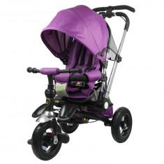 Tricicleta pentru copii, cu maner reversibil, violet - Tricicleta copii