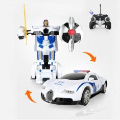 NOU! ROBOT TRANSFORMERS MASINUTA DE POLITIE BUGATTI VEYRON CU TELECOMANDA,SUPER!, Plastic, Unisex