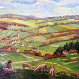 Irany Ivitz Sandor , tablou vechi , ulei pe carton , acte, Peisaje, Altul