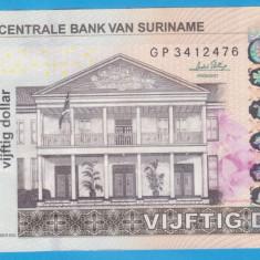 (1) BANCNOTA SURINAME - 50 DOLLARS 2010 (1 SEPTEMBRIE 2010) - bancnota america