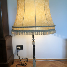 Lampadar vechi, cu abajur, veioza, veche, franceza, din alama si piatra