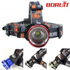 Lanterna cap originala Boruit led Cree xml t6 cu baterii AA