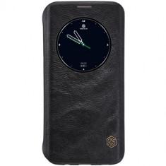 Husa Samsung Galaxy S7 Edge - Nillkin Qin Black, Piele Ecologica