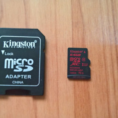 Card memorie Kingston Micro SDXC 64GB Clasa 10, UHS-I U3, Micro SD, 64 GB