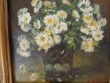 Vas cu tufanele albe, tablou in ulei pe carton semnat indescifrabil, Flori, Impresionism
