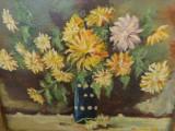 Fruchter Finti Dita, vas cu tufanele, tablou in ulei pe carton semnat., Flori, Impresionism
