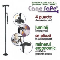 Cane Safe - baston pliabil cu LED si 4 puncte de contact