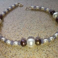 bratara elemente aur tanzanite si perle de cultura