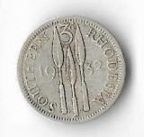 Moneda 3 pence 1932 - Southern Rhodesia, 1,41 g argint 0,925, Africa