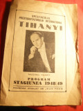Program -Spectacolul Prestidigitator International Tihanyi Stagiunea 1948-1949