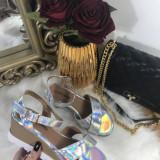 Sandale dama argintii marime 36, 37, 38, 39+CADOU