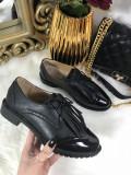 Pantofi dama oxford negri marime   38+CADOU, Din imagine, Cu talpa joasa