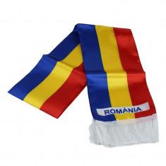 Fular tricolor sintetic, 15x150 cm, cu franjuri, Romania