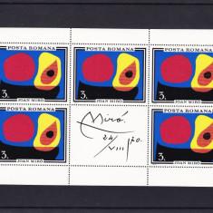 ROMANIA 1970 LP 744 b INUNDATIA II JOAN MIRO COALA MICA DE 5 MARCI+1 VINIETA MNH