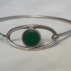 BRATARA argint cu JAD delicata SPLENDIDA finuta SUPERBA vintage de EFECT rara