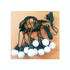 Ghirlanda Luminoasa 5M cu 10 Penduluri Mate cu LEDuri, Cablu Negru, Lumina Calda, Conectabila 50M, de Exterior