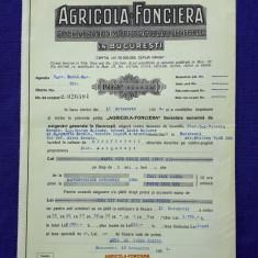 """Polita de asigurare mosie """" Agricola - Fonciera """"  - 1934 - piesa Rara"""