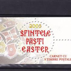 ROMANIA 2005 LP 1679 b SFINTELE PASTI CARNET CU 9 TIMBRE POSTALE MNH - Timbre Romania, Nestampilat