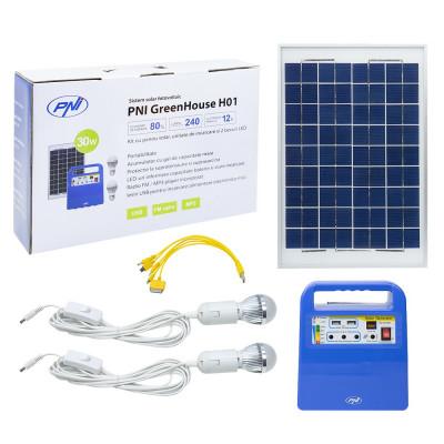 Resigilat : Sistem solar fotovoltaic PNI GreenHouse H01 30W cu acumulator 12V/7Ah, foto