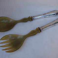 Frumoase tacamuri argintate marcate EX NS lingura si furculita