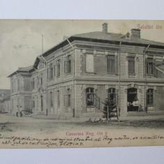 Rara! Carte postala Slatina/cazarma Regimentului 3 Olt infanterie,circulata 1906, Printata