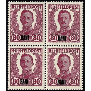 ROMANIA 1918-OCUPATIA AUSTRIACA BLOC DE 4 *80 BANI MNH ,CV 10000 EURO RRR++