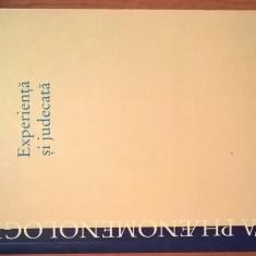 Edmund Husserl - Experienta si judecata - Cercetari privind genealogia logicii, Humanitas