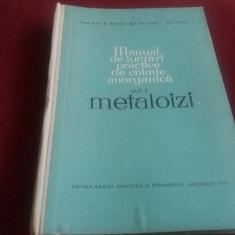 MANUAL DE LUCRARI PRACTICE DE CHIMIE ANORGANICA VOL I METALOIZI