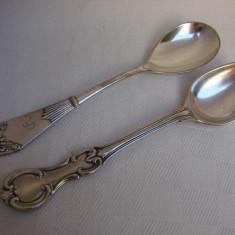 Doua lingurite vechi din alpacca argintate, anii 1910