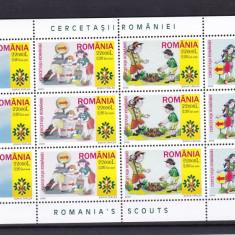 ROMANIA 2005  LP 1686 a  CERCETASII ROMANIEI  MINICOALA DE 12 TIMBRE  MNH