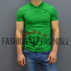 Tricou barbati guler polo verde slimfit elastic