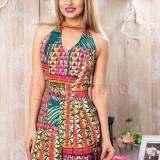 Salopeta Pretty Girl scurta cu imprimeu colorat