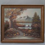 PICTURA VECHE IN ULEI PE PANZA - PEISAJ AUTUMNAL - SEMNAT T TRAVIS - TABLOU, Peisaje, Realism