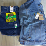 Wrangler blue jeans denim + giacca denim originale, 48, Bleumarin