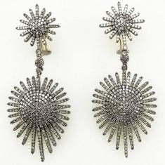 Pereche de cercei cu diamante, 14k