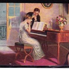 FEMEIE CANTAND LA PIAN.  ILUSTRATA COLOR DIN 1917 CIRCULATA, FD84, Fotografie
