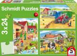 Puzzle 3 in 1 - Viata la ferma, 72 piese, Schmidt