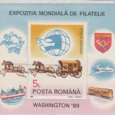 ROMANIA 1989  LP 1230 EXPOZITIA MONDIALA DE FILATELIE  WASHINTON 89  COLITA  MNH