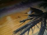 Pictura veche pe panza PESCAR,Tablou de colectie 71/78,pictura pe panza Pescarul