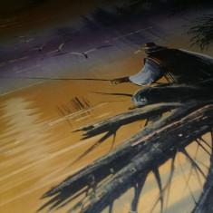Pictura veche pe panza PESCAR,Tablou de colectie 71/78,pictura pe panza Pescarul, Marine, Ulei, Realism