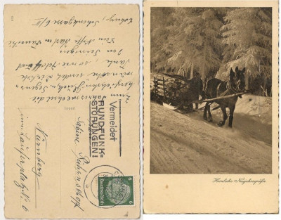 GERMANIA 1936 - PEISAJ IARNA. SANIE TRASA DE CAL. ILUSTRATA DT CIRCULATA, FD79 foto