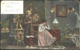 ROMANIA 1906 - SCENA PIESA DE TEATRU. FELICITARE, CIRCULATA, FD79, Fotografie, Bacau