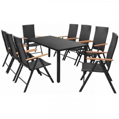 Set mobilier de exterior, 9 piese, poliratan, WPC ?i aluminiu foto
