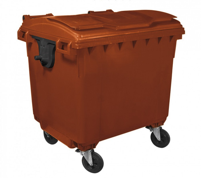 Container HDPE CLF 1100L cu capac plat maro