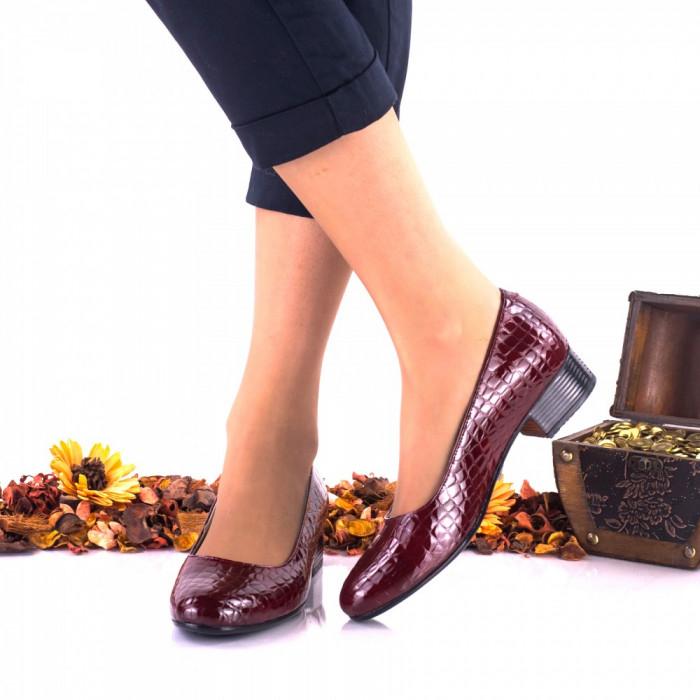 Pantofi dama casual bordo din piele naturala, croco, - NA234B